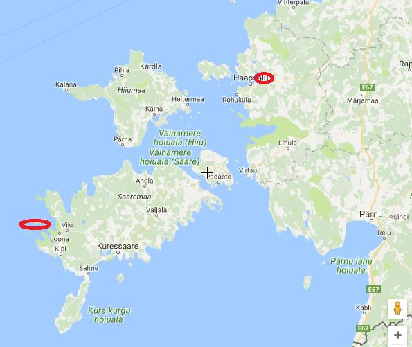 Mapa oblasti tuleni,orel mořský Estonsko